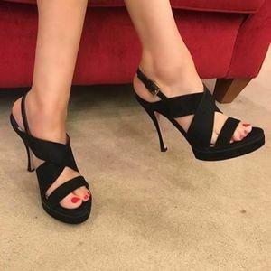 🆕Stuart Weitzman Platform Sandals Black Suede 6.5